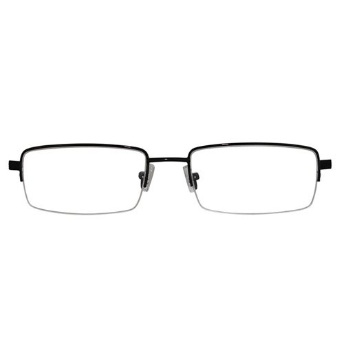 EyeBuyExpress Rectangle Black Reading Glasses Half Rim Spring Hinges