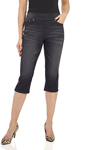 Rekucci Womens Ease In To Comfort Fit Stretch Jean Capri (8,Black (Fit Stretch Capri)