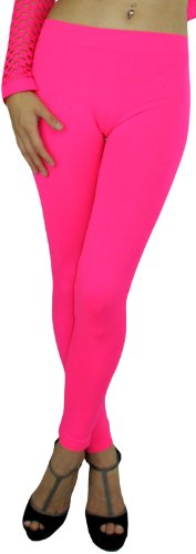 ToBeInStyle Women's Footless Elastic Leggings - One Size - Neon Pink