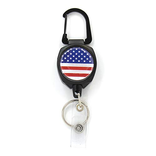 Buttonsmith US Flag Sidekick Retractable Badge Reel - Extra Heavy Duty - Carabiner and Key Ring - Made in The -