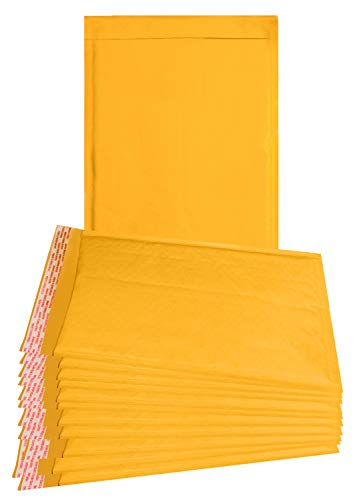 25 Pack Kraft padded envelopes 10.5 x 15 Bubble Mailers 10.5x15 yellow bubble envelopes Peal and Seal. Golden cushion envelopes for shipping, mailing, packing. Laminated kraft paper in bulk, wholesale
