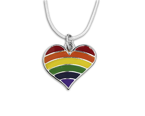 2 Pack Gay Pride Rainbow Striped Heart Necklaces (2 Necklaces Individually Bagged) -
