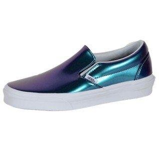 Vans Unisex Classic Slip-on (Patent Leather) Blue Skateboarding Shoes (4.5M 6W)