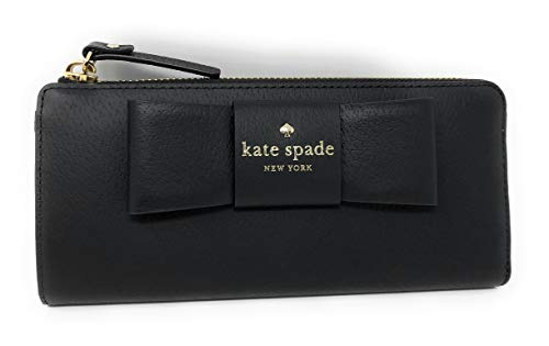 Kate Spade Nisha Robinson Street Leather Zip Around Continental Wallet Black Ribbon ()