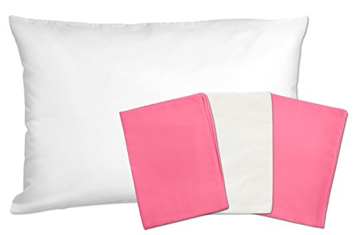 3 Toddler Pillowcases - 2 Hot Pink and 1 White - Envelope Style - For Pillows Sized 13x18 - 100% Cotton With Soft Sateen Weave - Machine Washable - ZadisonJaxx Bellacolour Collection - 3 Pack by Zadisonjaxx (Image #4)