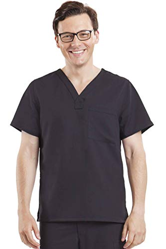 Blue Label Men's James 2223 V-Neck Scrub Top- Black- XL (Xl Black Label)