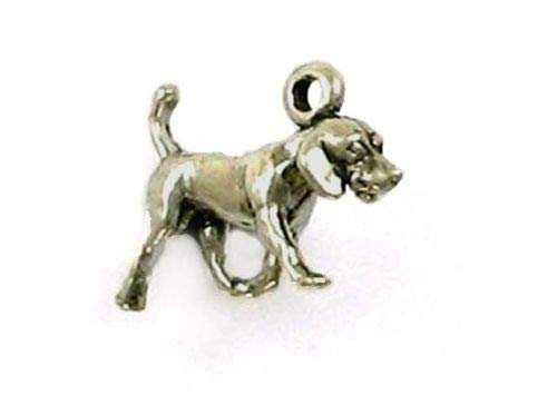 Sterling Silver 3-D Miniature American Fox Hound Charm - Jewelry Accessories Key Chain Bracelet Necklace Pendants
