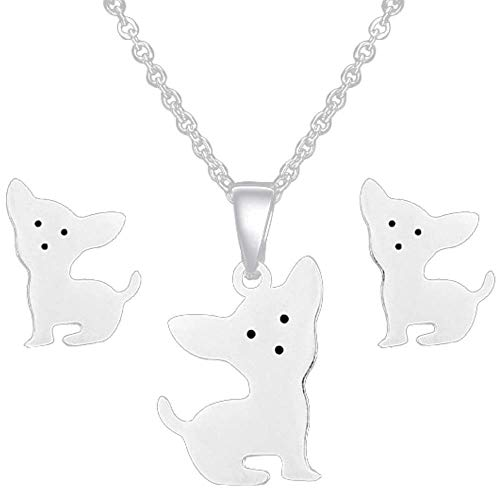 Soul Statement Chihuahua Gifts for Girls: Cute Puppy Dog Earrings & Necklace (Chihuahua Set Silver)