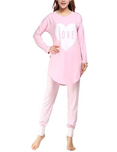 Nightwear Pyjama (VENTELAN Women Pajama Set Long-Sleeved Sleepwear Cute Heart-Printed Nightwear)