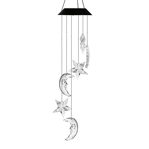 Changing Color Mobile Light, Anzome Star & Moon Spiral Spinner Windchime Portable Outdoor Decorative Romantic