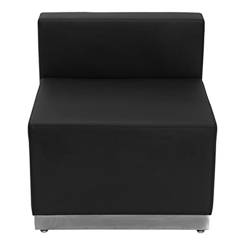 Flash Furniture HERCULES Alon Series Black Leather Chair with Brushed Stainless Steel Base