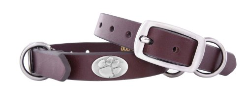 Zep-Pro Clemson Tigers Brown Leather Concho Dog Collar, Small