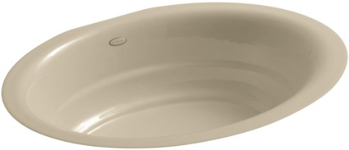 - Kohler 2832-33 Cast Iron undermount oval Bathroom Sink, 26 x 20.81 x 10 inches, Mexican Sand