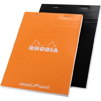 Rhodia No.16 A5 6 X 8 1/4 80 Sheet, Dot Pad,Set of two 1 Orange & 1 Black by Rhodia