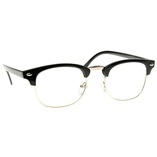 Emblem Eyewear - Premium Half Frame Horn Rimmed Sunglasses Metal Rivets (Black Clear, - Eyeglasses Fake Bans Ray
