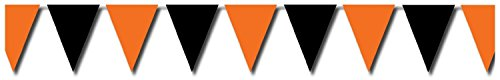 Halloween Orange & Black Outdoor Pennant Banner 18in. X 30ft.,pkg/3