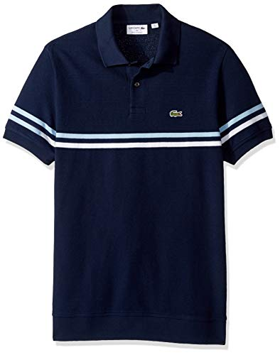 Lacoste Men's S/S Mix Stitch 2 Striped Polo Regular FIT, Navy Blue/White/Creek, X-Large