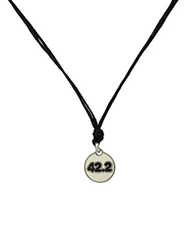 (Black Choker Necklace with Stainless Steel Marathon Runners 42.2K Charm Necklace on Double Black Strand for Women - Light, Elegant, Hypoallergenic Jewelry)