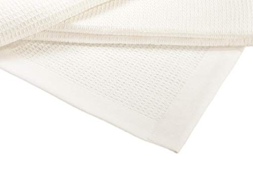 Crover Collection All Season Thermal Waffle Cotton Twin Blanket 66x90 Ivory with Deep Plain Edge Border Durable and Soft