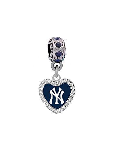 New York Yankees Crystal Heart Charm