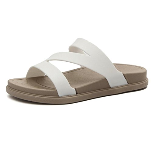 Women's Z Sandals, SUKEQ Soft Comfort Arch Support Loudmouth Z Sandals Flat Slip On Causal Summer Slide Sandals Walking Sandals (7.5 B(M) US, (Comfort Instep)