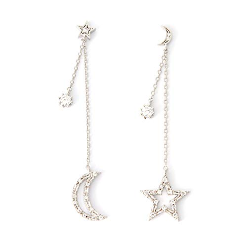 LAONATO Tapered Baguette CZ Crescent Moon and Star Drop Earrings -