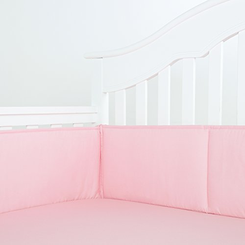 TILLYOU Cotton Collection Breathable Crib Bumper Pads for Standard Cribs Nursery Machine Washable Padded Crib Liner Set for Baby Girls Safe Bumper Guards Crib Rail Padding, 4 Piece, Lt Pink