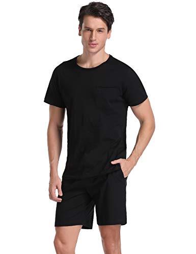 Aibrou Men's Short Sleeves and Shorts Cotton Pajama Set Sleepwear Lounge Set Summer Black M