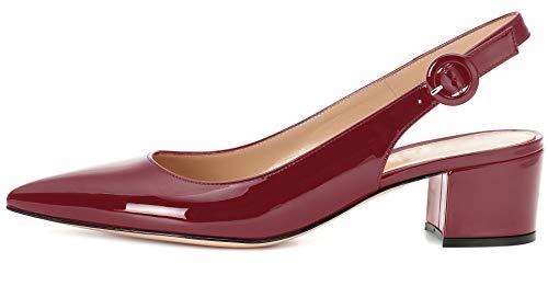 - YODEKS Slingbacks Heels for Women Patent Leather Heels Slingback Pointed Toe Block Heel Pumps Ankle Buckle Chic Pumps, 2 inch Heel Height Burgundy US12