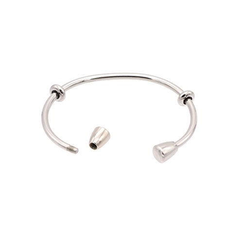 Oval Womens Charm - Screw Ball Bangle Bracelet DIY Bead Stone Girls Small Wrist Oval Open Cuff Bracelets for Spacer Lampwork Glass Charm Beads