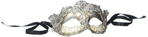 Pure Seasons 4everStore Macrame Lace & Rhinestones Masquerade Mask (Silver) ()