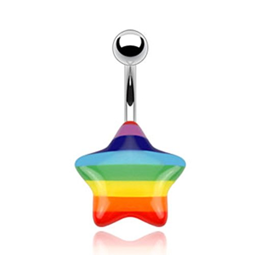 Rainbow Acrylic Star 316L Surgical Steel Belly Button Ring