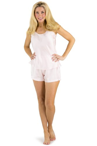 Fishers Finery Women's 100% Pure Silk Cami Boxer Pajama Set; Sleepwear Perfect Valentine Gift (Pink, S) -