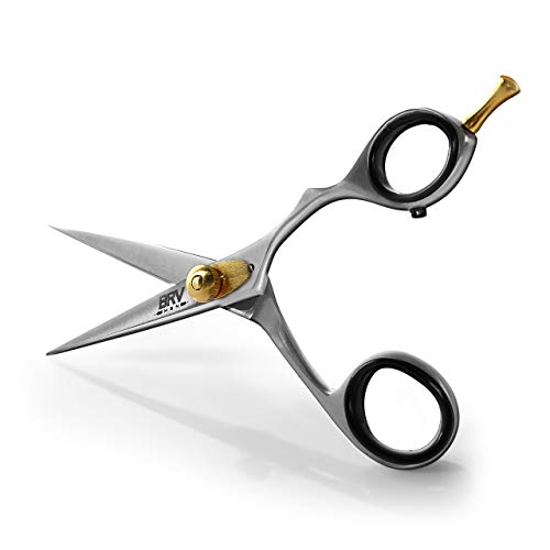 Facial Hair Scissors for Men | Mustache & Beard Trimming Scissors | 5.5 inches | 100% Stainless Steel l Sharp & Precise Grooming | Razor Edge Barber Scissor | Professional Cutting Scissors | Silver