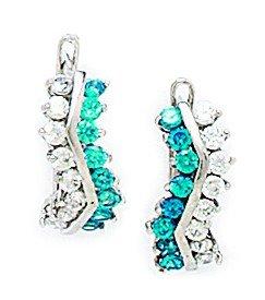 - 14k White Gold December Blue CZ Curve Shape Leverback Earrings - Measures 14x6mm