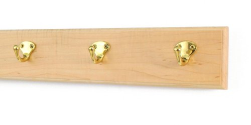 Maple Coat Rack with Solid Brass Single Style Hooks (Natural, 15