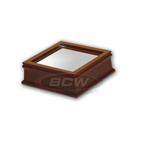 WOOD & MIRROR BASE DISPLAY PLINTH FOR BASEBALL, CRICKET BALL or TENNIS BALL CUBE BCW
