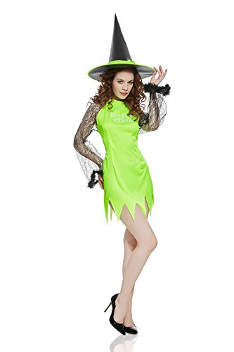 [Adult Women Pretty Witch Halloween Costume Hot Enchantress Dress Up & Role Play (One Size - Fits All, bright] (Hot Halloween Costumes Devil)