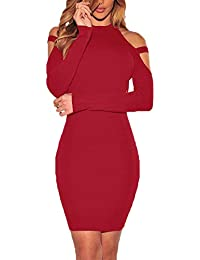 Women's Sexy Cold Shoulder Long Sleeve Dress Bandage Party Club Bodycon Midi Dresses