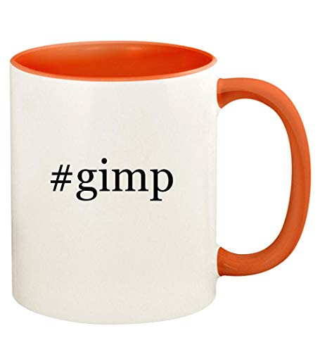 #gimp - 11oz Hashtag Ceramic Colored Handle and Inside Coffee Mug Cup, Orange