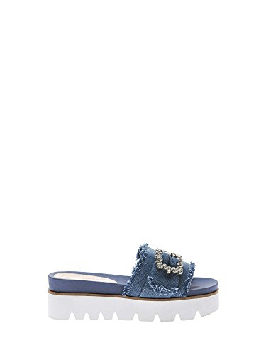 FornarinaWedge Sandal Wrapped in Fabric Color Jeans Article PE18FE2901T018 Free Light Blue Fabric New Spring Summer Collection 2018 - Womens Wedge Fornarina