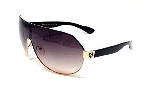 Khan Shield Aviator Wrap Around Sunglasses (Gold & Black Frame, Brown Gradient)