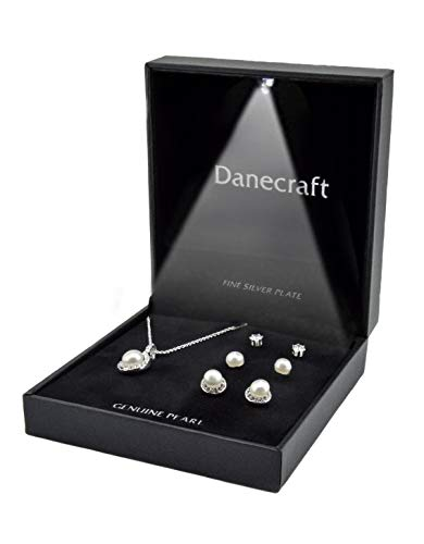 Danecraft Fine Silver Plated Round Crystal Pave Border Pendant Necklace w/ 2 Sets of Pearl Earrings & 1 Cubic Zirconia Stud Earrings -Featuring LED Spotlight Gift ()