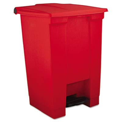 RCP6144RED Step-On Waste Container, Square, Plastic, 12 gal, Red ()