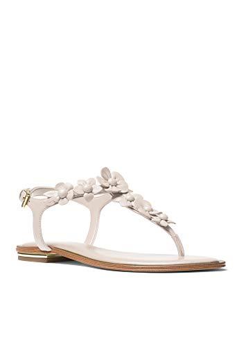 Thongs Kors Michael Leather (Michael Michael Kors Women's Tricia Thong Sandal, White, 6.5M US)
