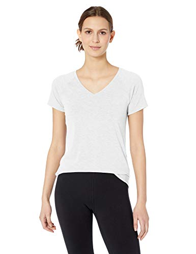 (Amazon Essentials Women's Studio Short-Sleeve Lightweight V-Neck T-Shirt, -white, Medium)