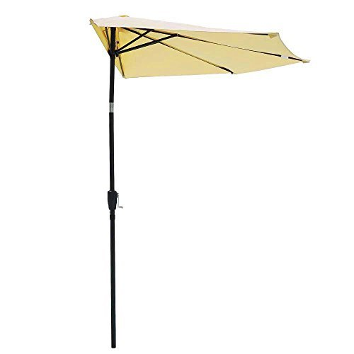 10 10 Ft Beige Polyester Patio Half Umbrella W  5 Ribs 97  Steel Pole Push Button Tilt Crank Handle For Wall Balcony Door Sun Shade Opt Furniture Outdoor Canopy