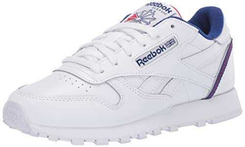 Reebok Men's Classic Leather Sneaker, white/cobalt/vector Red,8 M US