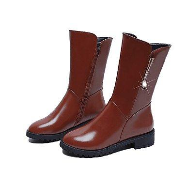 Heel UK3 5 Flat CN35 Yellow US5 5 Comfort Flat EU36 Winter Women'S Casual Black Pu Dark Boots RTRY Brown YU46awqn0x