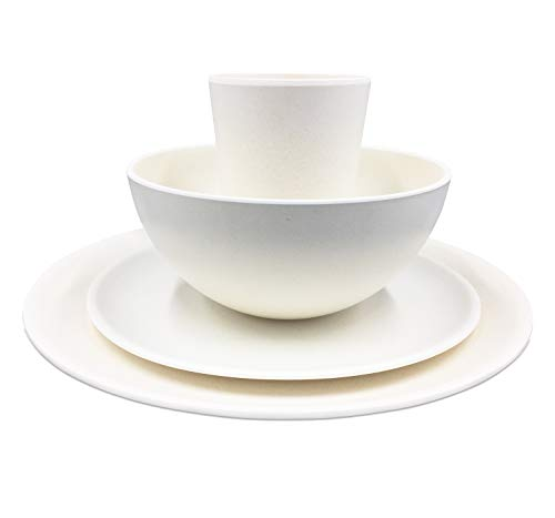 Bamboo Fiber 4-Piece Non-Breakable Dish Set - Dishwasher Safe - White Modern Design for All Ages